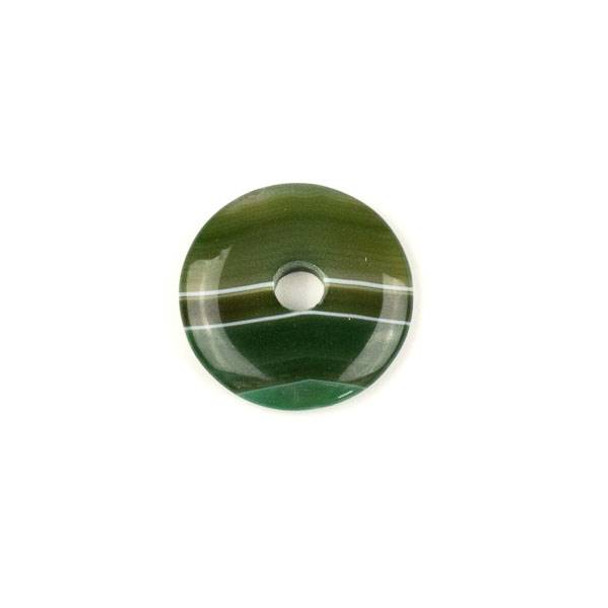 Moss Green Agate 29mm Donut Pendant - 1 per bag