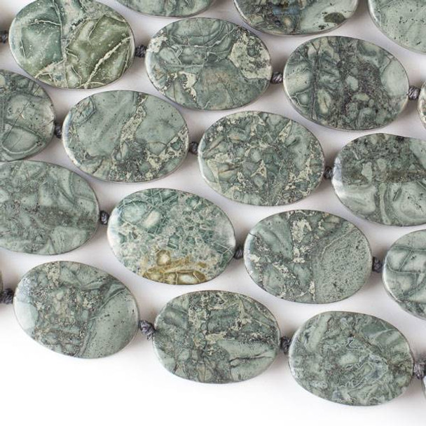 """African Green Grey Brecciated Jasper 18x25mm Knotted Oval -16"""" Strand"""