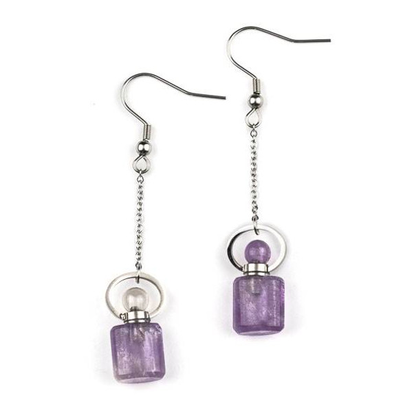 Amethyst 11x19mm Rounded Square Perfume Bottle Earrings with Silver Stainless Steel - 1 pair