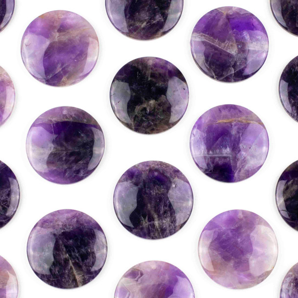 Amethyst 40mm Top Front to Back Drilled Coin Pendant with a Flat Back - 1 per bag