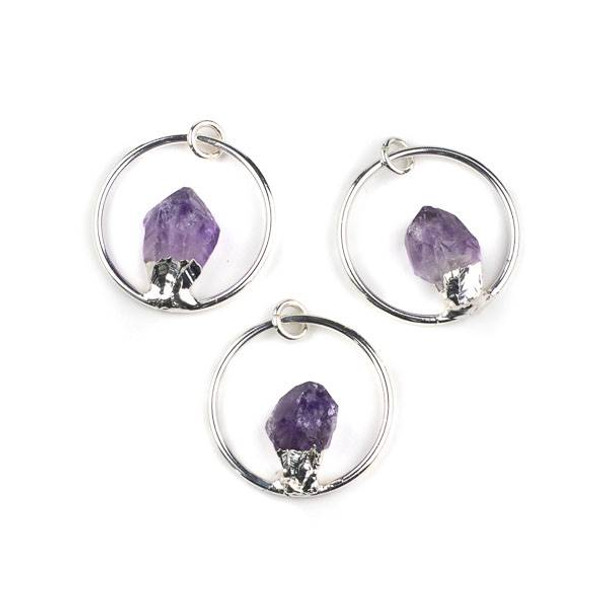 Amethyst 13x23mm Rough Nugget and Silver Plated Brass 35mm Hoop Pendant with 8mm Open Jump Ring - 1 per bag