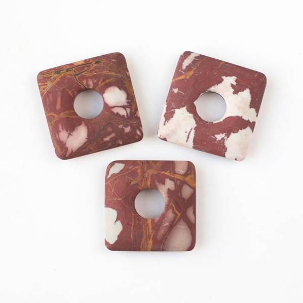 Matte Australian Picture Jasper (Noreena Jasper) 40mm Square Donut Pendant