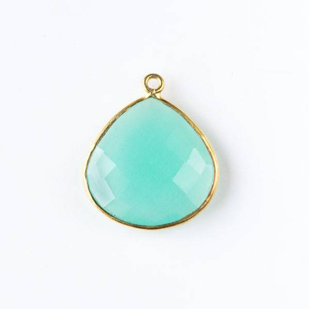 Aqua Chalcedony approximately approximately 20x23mm Faceted Almond Teardrop Drop with a Gold Plated Brass Bezel
