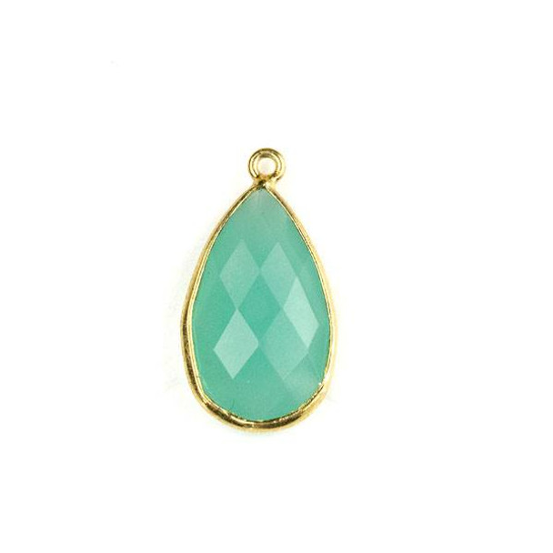 Aqua Chalcedony approximately 13x24mm Faceted Teardrop Drop with a Gold Plated Brass Bezel