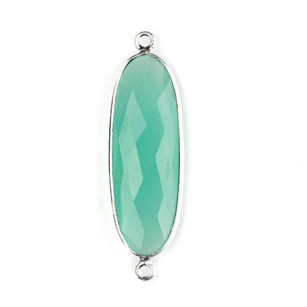 Aqua Chalcedony 12x38mm Faceted Oval Link with a Silver Plated Brass Bezel