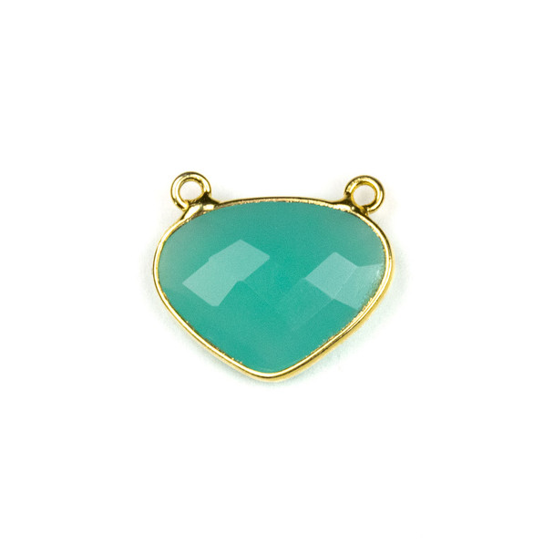 Aqua Chalcedony approximately 18x21mm Rounded Triangle Drop Pendant with a Gold Plated Brass Bezel - 1 per bag