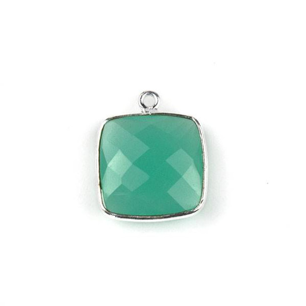Aqua Chalcedony 15X18mm Square Drop with a Silver Plated Brass Bezel - 1 per bag