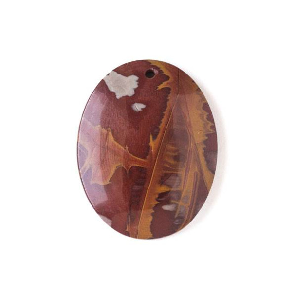 Australian Red Picture Jasper (Noreena Jasper) 35x45mm Top Front to Back Drilled Oval Pendant with a Flat Back - 1 per bag