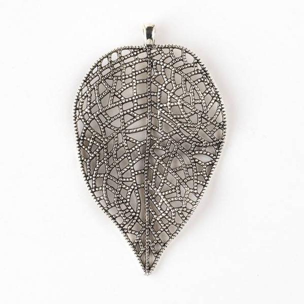 Silver Pewter 50x80mm Large Leaf Pendant - 1 per bag - basea11738s