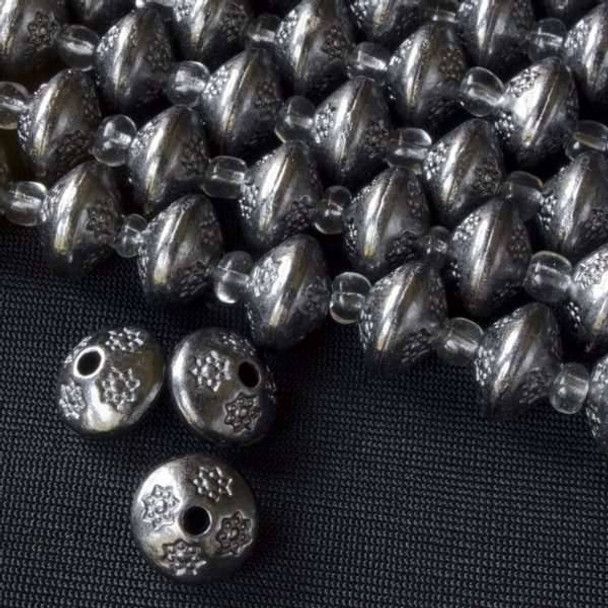 Gun Metal Colored Pewter 7x10mm Thai Style Bead Smooth w/ Small Detailed Stars - approx. 8 inch strand - Basea5009gm
