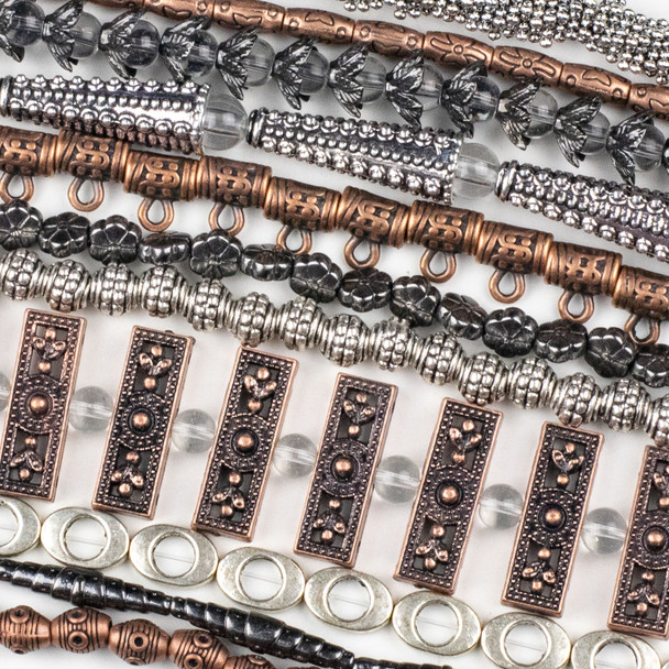 A Bulk Mix of 50 assorted 8 inch strands of Silver, Bronze, and Vintage Copper Colored Pewter Beads