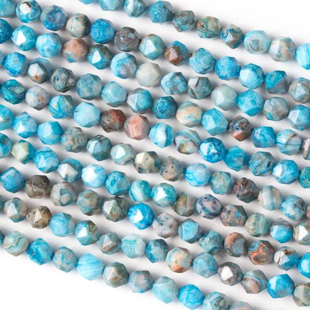 Blue Crazy Lace Agate 6mm Simple Faceted Star Cut Beads - 16 inch strand