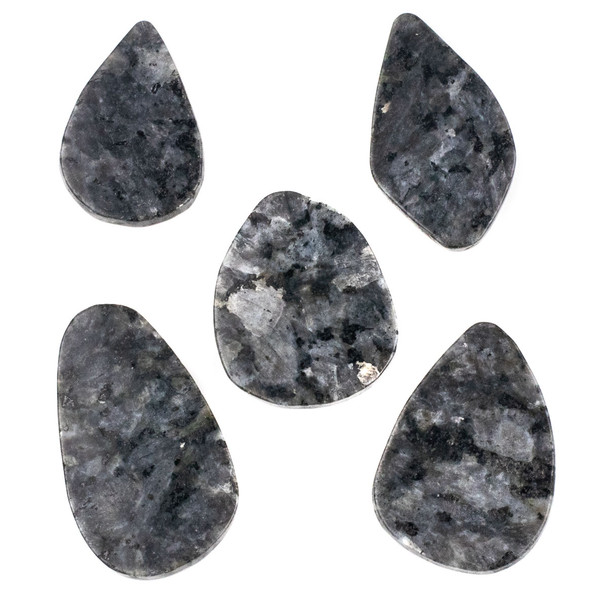 "Black Labradorite/Larvikite Grade ""B"" 26x40-36x55mm Top Drilled Free Form Pendant - 1 per bag"