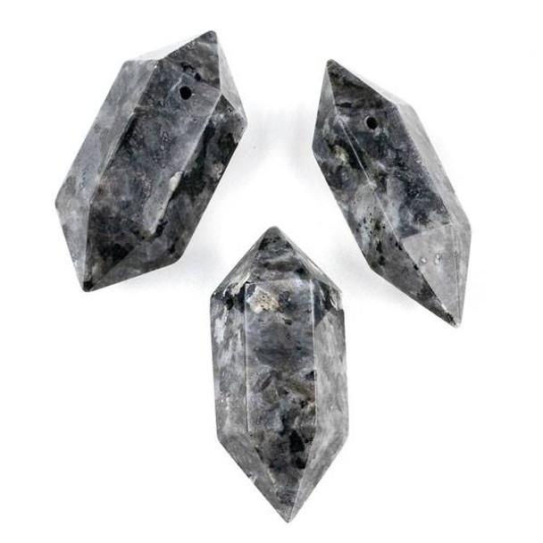 Black Labradorite/Larvikite 27x70mm Extra Large Hexagonal Double Point Pendant - 1 per bag