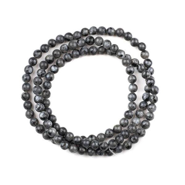 Black Labradorite 6mm Mala Round Beads - 29 inch strand