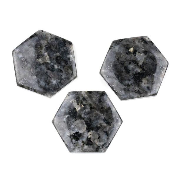 Black Labradorite/Larvikite 40x45mm Top Drilled Hexagon Pendant - 1 per bag
