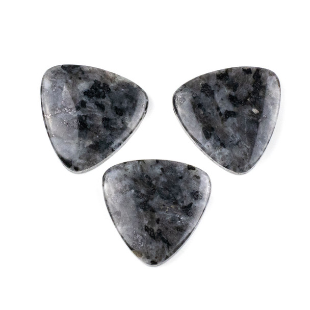 Black Labradorite/Larvikite 35mm Top Drilled Inverted Triangle Pendant - 1 per bag