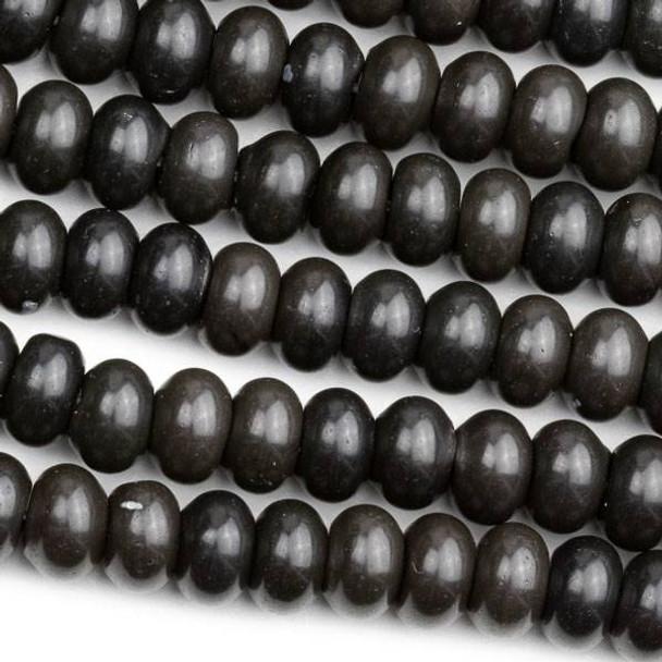 Black Obsidian 5x8mm Rondelle Beads - 15 inch strand