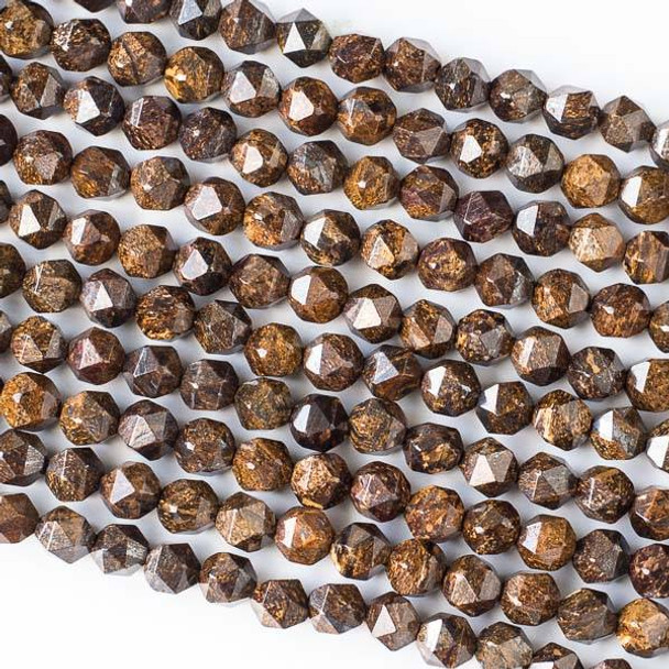 Bronzite 6mm Simple Faceted Star Cut Beads - 16 inch strand