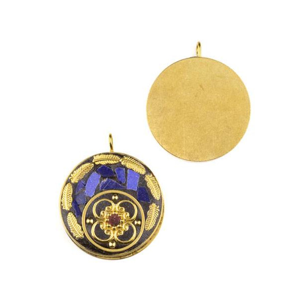Tibetan Brass 30mm Coin Pendant with Lapis Inlay and Brass Leaves - 1 per bag