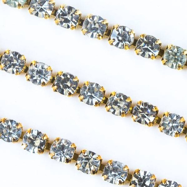 Gold Base Metal 3mm Rhinestone Cup Chain with Crystals - 1 foot