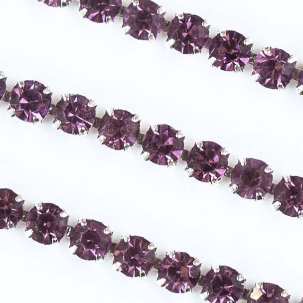 Silver Base Metal 3mm Rhinestone Cup Chain with Pink Amethyst Crystals - 1 foot