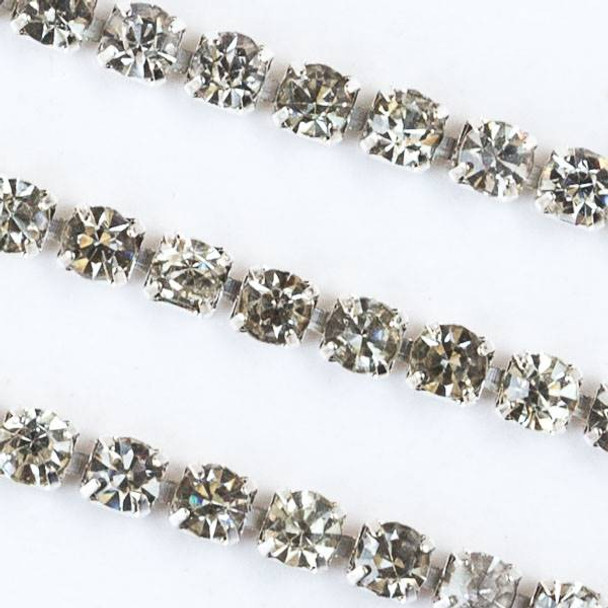 Silver Base Metal 3mm Rhinestone Cup Chain with Crystals -  Spool
