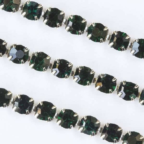 Silver Base Metal 3mm Rhinestone Cup Chain with Emerald Green Crystals - 1 foot