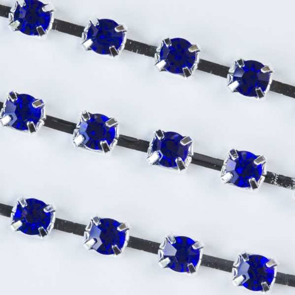 Silver Base Metal 3mm Cup Chain with 3mm Spaces and Sapphire Blue Crystals - 1 foot