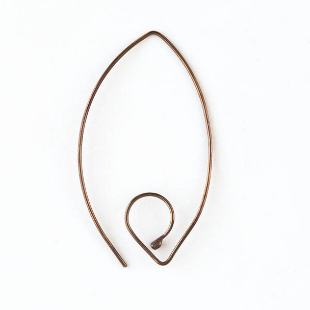 Copper 20 Gauge 28x40mm Handmade V Shaped French Interchangeable Ear Wire
