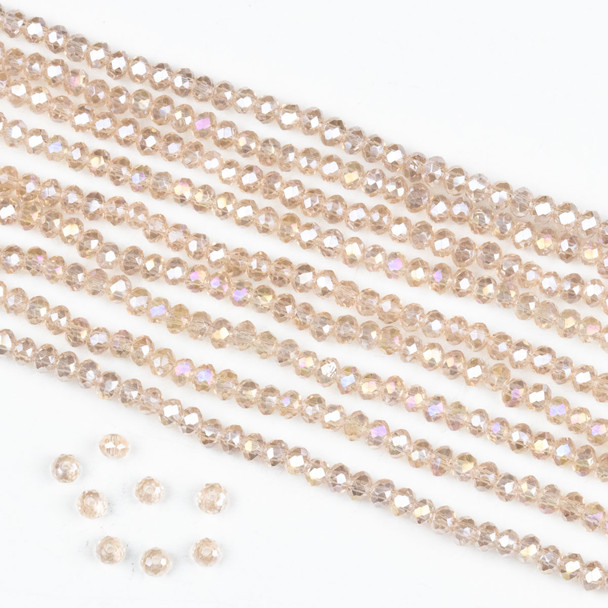 Crystal 2x2mm Pink Blush Rondelle Beads with an AB finish -Approx. 15.5 inch strand