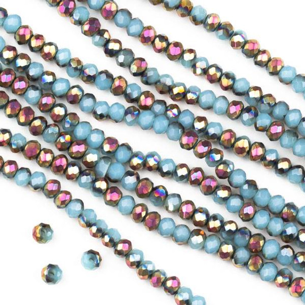 Crystal 2x3mm Opaque Hot Pink Golden Copper Kissed Blue Grey Faceted Rondelle Beads - Approx. 15.5 inch strand
