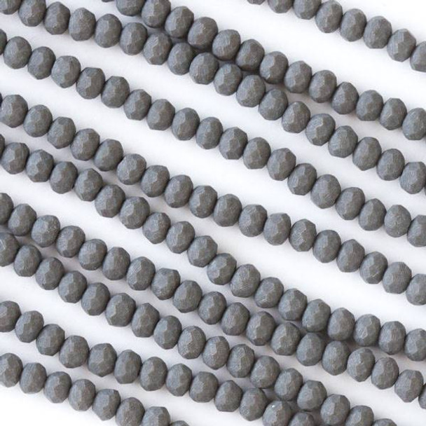 Crystal 2x3mm Opaque Matte Elephant Skin Grey Faceted Rondelle Beads - Approx. 15.5 inch strand