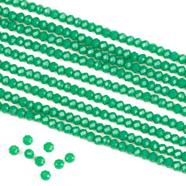 Crystal 2x3mm Opaque Poseidon Green Rondelle Beads -Approx. 15.5 inch strand