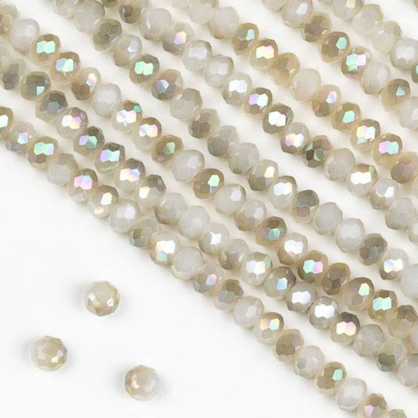 Crystal 2x3mm Champagne Kissed Opaque Winter White Rondelle Beads -Approx. 15.5 inch strand