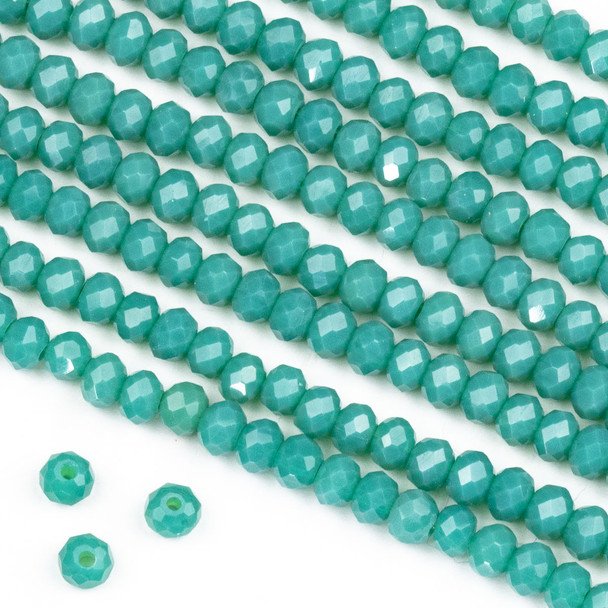 Crystal 3x4mm Opaque Dark Ocean Blue Rondelle Beads -Approx. 15.5 inch strand