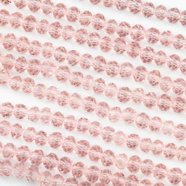 Crystal 3x4mm Pink Rondelle Beads -Approx. 15.5 inch strand
