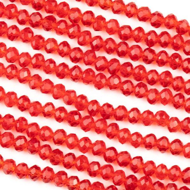 Crystal 3x4mm Red Rondelle Beads -Approx. 15.5 inch strand