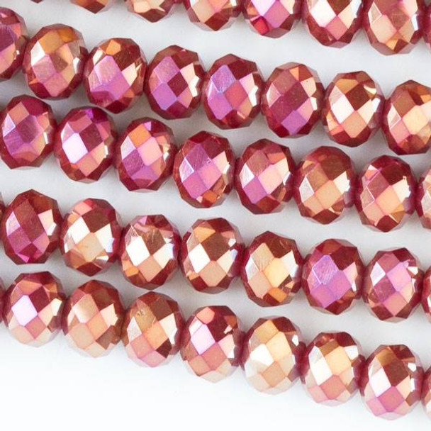 Crystal 4x6mm Opaque Dark Red Faceted Rondelle Beads with a Golden AB finish - Approx. 15.5 inch strand