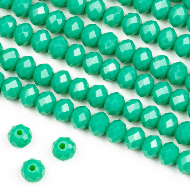Crystal 4x6mm Opaque Poseidon Green Rondelle Beads -Approx. 15.5 inch strand