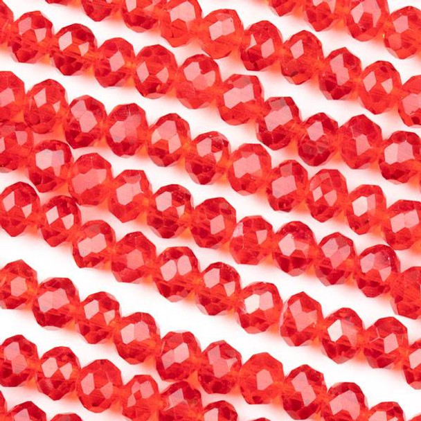 Crystal 4x6mm Red Rondelle Beads -Approx. 15.5 inch strand