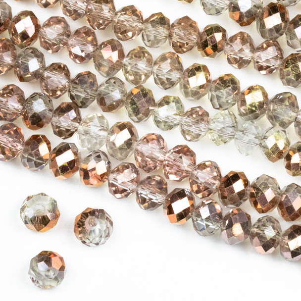 Crystal 4x6mm Opaque and Translucent Smoky Rose Gold Faceted Rondelle Beads - Approx. 15.5 inch strand