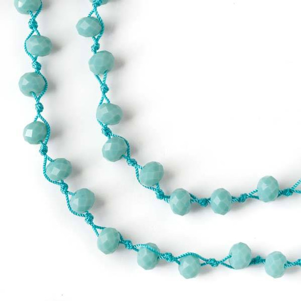 36 inch Hand Knotted Opaque Aqua Blue 6x8mm Crystal Rondelle Necklace with Aqua Nylon Cord