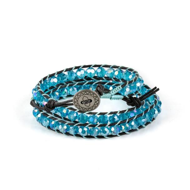 Caribbean Aqua Crystal AB 6mm Round Beads and Black Leather Wrap Bracelet