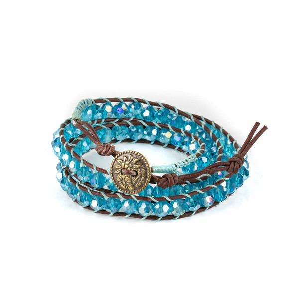 Caribbean Aqua Crystal AB 6mm Round Beads and Brown Leather Wrap Bracelet