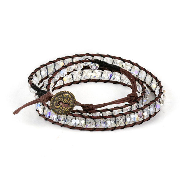 Clear Crystal AB 6mm Round Beads and Brown Leather Wrap Bracelet