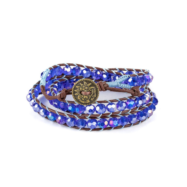 Sapphire Crystal AB 6mm Round Beads and Brown Leather Wrap Bracelet