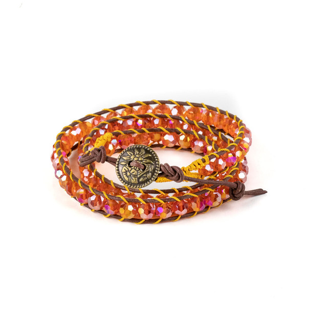 Tangerine Crystal AB 6mm Round Beads and Brown Leather Wrap Bracelet