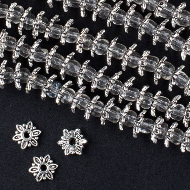 Silver Pewter 1x7mm Pointed Bead Caps - approx. 8 inch strand - CTB00002s