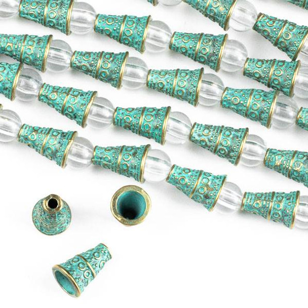 Green Bronze Colored Pewter 7x10mm Cone Bead Caps with Circles - approx. 8 inch strand - CTB00806gb